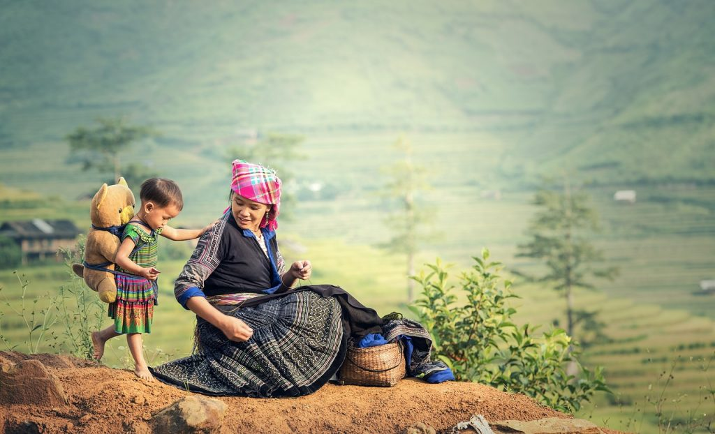 mother and child subsistence farming